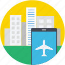 buildings, city, flight status, flight tracker, mobile icon