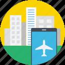 flight tracker, city, buildings, mobile, flight status