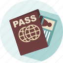 passport, rested, travel, vacation, visit icon