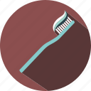 teeth, toothbrush, toothpaste, travel icon