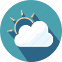 cloud, heavy, sun, travel, weather icon