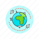air, earth, globe, map, plane, travel, world icon