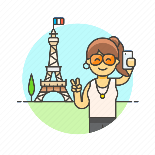 eiffel, holiday, paris, selfie, tower, travel, vacation, woman icon