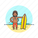 beach, board, man, summer, surfing, travel, vacation, wave icon