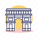arc de triomphe, building, destination, europe, france, paris, travel