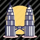 asia, destination, kuala lumpur, malaysia, petronas, tower, travel icon