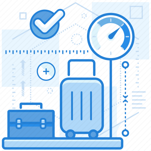 baggage, luggage, measurement, weight icon