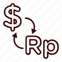 changer, dollar, dollar to rupiah, financial, money, rupiah icon