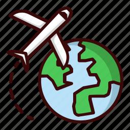 arround the world, blue, earth, green, plane, travel, world icon