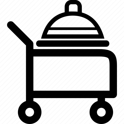 cart, food, plate, room, service icon