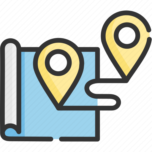 map, navigation, pin, route, tourism, travel, way icon