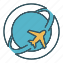 airlines, flight, global, plane, transport, travel, world icon