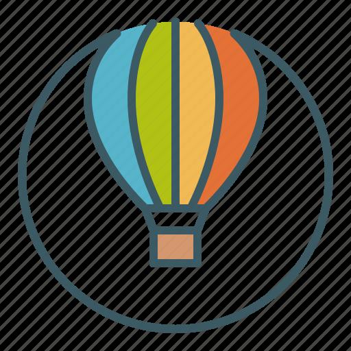 balloon, circle, hot air, sky, travel, vacation icon