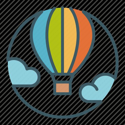 balloon, circle, clouds, hot air, sky, travel, vacation icon
