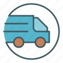 car, circle, delivery, transport, truck, vehicle icon