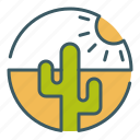 cactus, circle, desert, dry, hot, landscape, travel icon