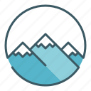 alpine, circle, landscape, mountaineer, mountains, peak icon
