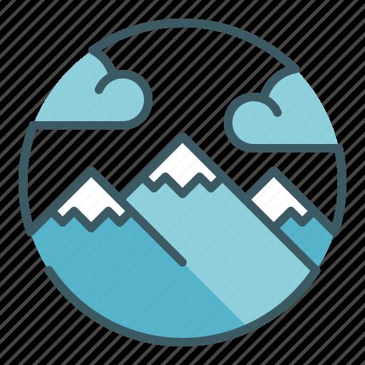 alpine, circle, clouds, landscape, mountaineer, mountains, peak icon