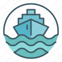 boat, ocean, sea, ship, shipping, transport, travel icon