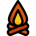 camping, fire, fireplace, travel icon