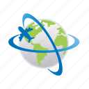 airplane, flight, planet, transportation, travel, vacation, world icon