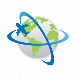 airplane, flight, planet, transportation, travel, vacation, world icon