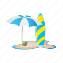 beach, ocean, umbrella, vacation, water, waveboard icon