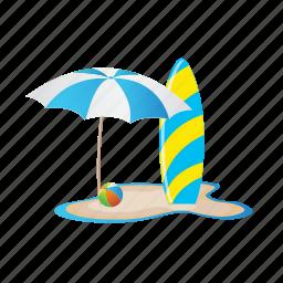 beach, ocean, umbrella, vacation, water, waveboard icon