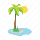 iceland, palmtree, sea, sun, vacation icon