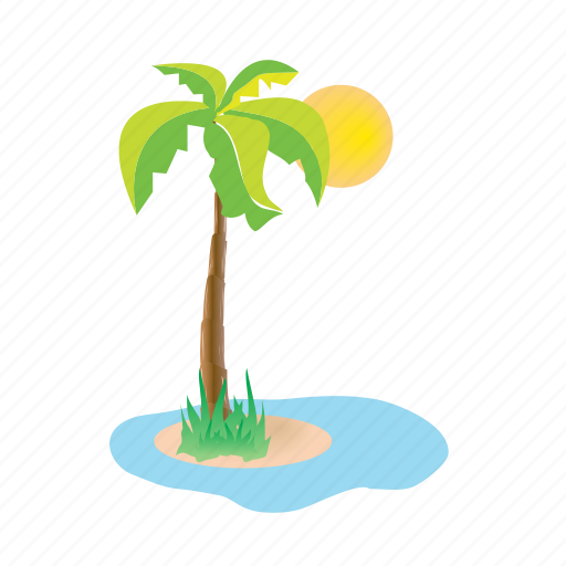 iceland, palmtree, sea, sun, vacation icon