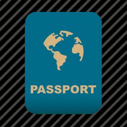 document, id, identification, passport, travel icon