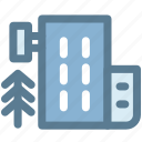 building, hostel, hotel, travel, tree, vacation icon