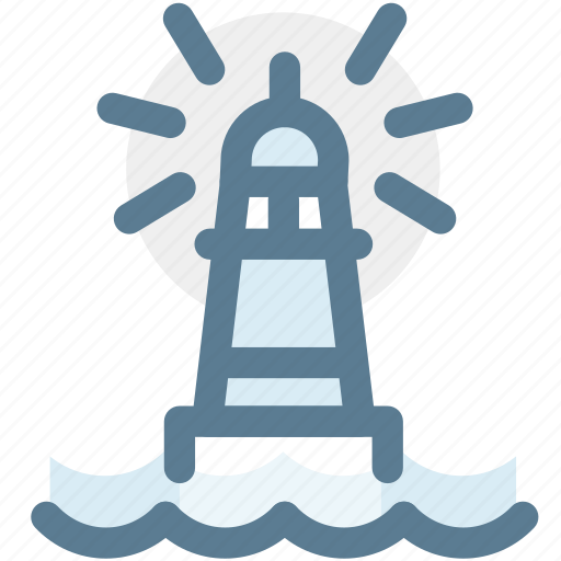 filled, lighthouse, navigation, sea, tower, travel icon