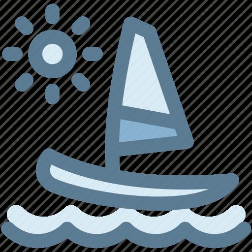 boat, camping, sail, sailboat, sea, sun, travel icon