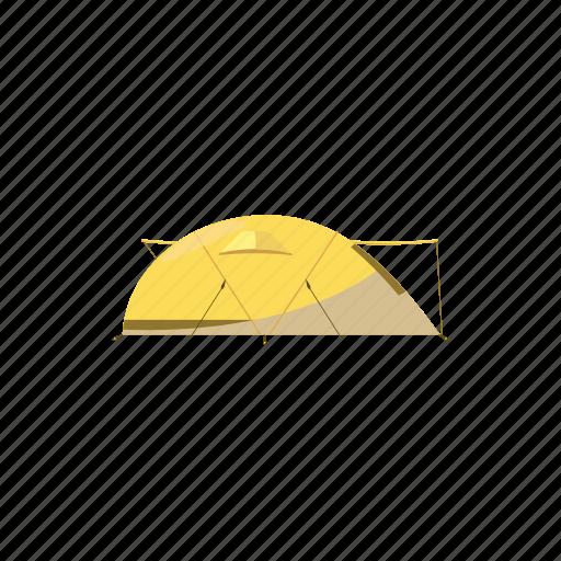 adventure, cartoon, dome, tent, tourist, travel, yellow icon