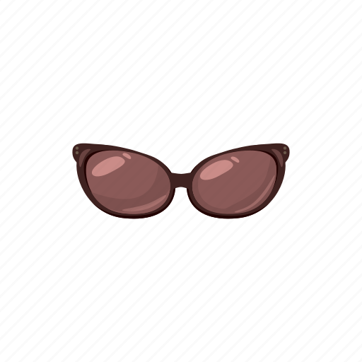 brown, cartoon, eye, fashion, glass, summer, sunglass icon