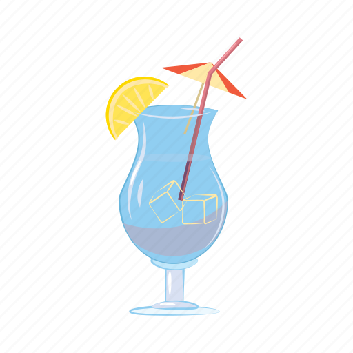 alcohol, blue, cartoon, cocktail, drink, glass, juice icon