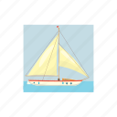 blue, boat, cartoon, holiday, sea, water, yacht icon