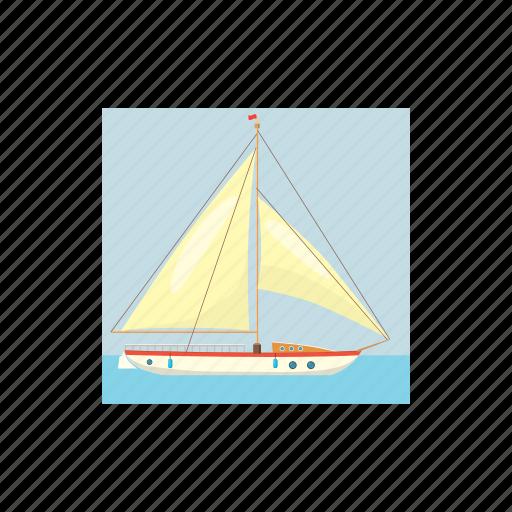 blue, boat, cartoon, holiday, sea, water, yacht icon