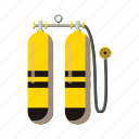 aqualung, cartoon, equipment, scuba, sport, underwater, water icon