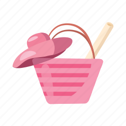 bag, beach, cartoon, hat, summer, travel, vacation icon