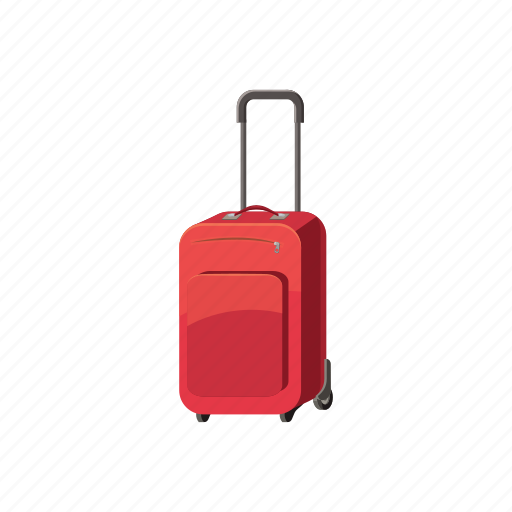baggage, cartoon, case, handle, luggage, suitcase, travel icon