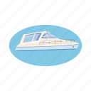 blue, boat, cartoon, ocean, travel, yacht, yachting icon