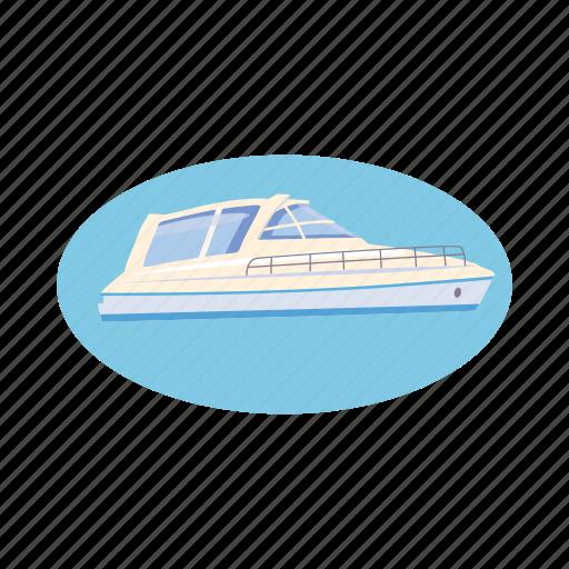 blue, boat, cartoon, ocean, travel, yacht, yachting icon