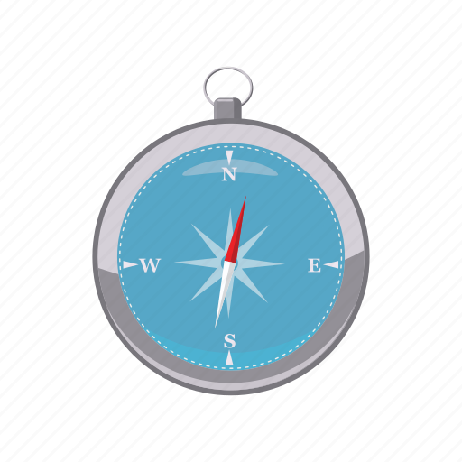 cartoon, compass, direction, east, north, south, west icon