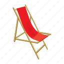 beach, cartoon, chair, lounger, summer, vacation, wood icon