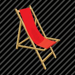 beach, cartoon, chair, lounger, summer, vacation, wood icon