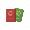 cartoon, document, identity, passport, travel, two, vacation icon