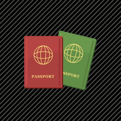 cartoon, document, identity, passport, travel, two, vacation icon