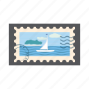 blue, cartoon, island, marine, postage, postal, stamp icon